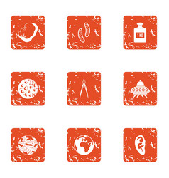 Extraterrestrial intervention icons set grunge vector