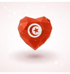 Flag of Tunisia in shape diamond glass heart vector