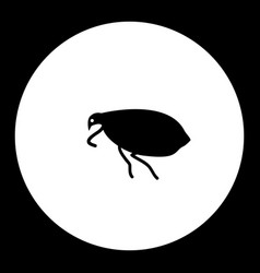 Flea insect simple black and green icon eps10 vector