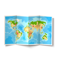 Folded world map destination pointer pins vector