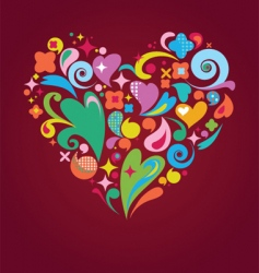 funky floral heart vector image vector image
