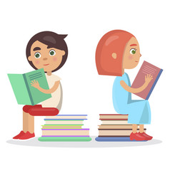 Girl and boy with open textbook sit on books vector