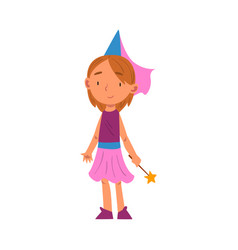 Girl in fairy costume cute kid playing dress up vector