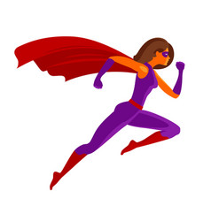 Girl super hero or superwoman flying cartoon vector