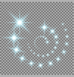 glittering flying stars aqua color vector image