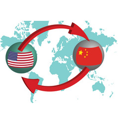 Global trading the united states and china vector