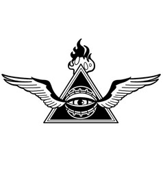 Graphic winged all-seeing eye with triangle vector
