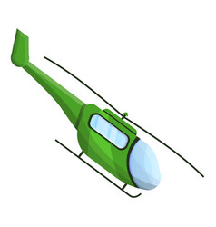 Green helicopter icon cartoon style vector