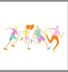 Group male female runner club sport jogging vector