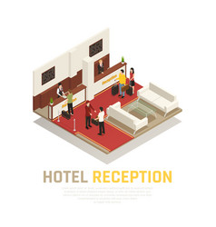 Hotel reception isometric composition vector