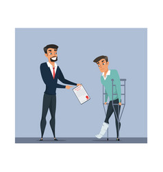 Insurance company agent and client vector