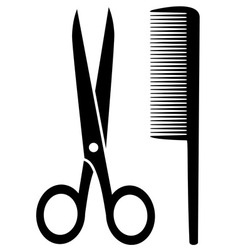 Isolated comb and scissors vector