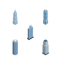 Isometric building set of tower business center vector