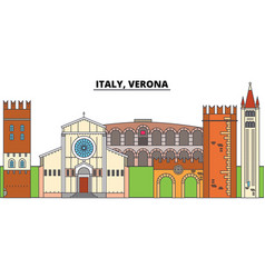 italy verona city skyline architecture vector image