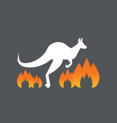 Kangaroo running escaping from forest wild fires vector