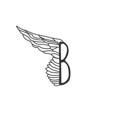 letter b with one wing template for logo label vector image