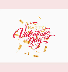 lettering happy valentines day with golden vector image