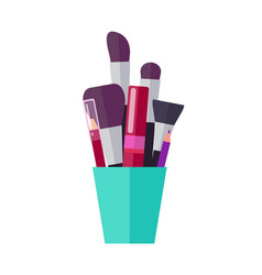 lush brushes bright pencils and tube of mascara vector image