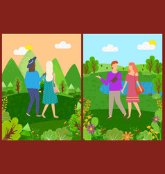 man and woman in park friends walking vector image