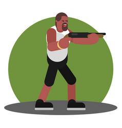 man with shotgun vector image
