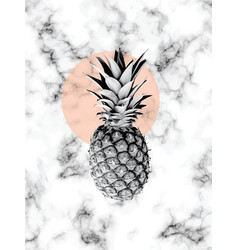Marble texture design with pineapple vector