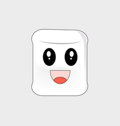Marshmallow cartoon delighted on a white vector
