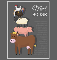 meat house poster different vector image