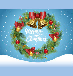 merry christmas card with crown in snowscape vector image