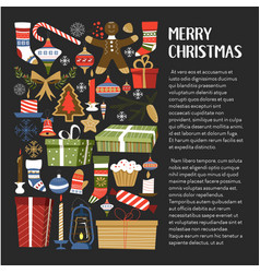 merry christmas presents and symbols of winter vector image