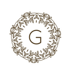 Monogram g logo and text badge emblem line art vector