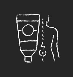 Ointment for back pain chalk white icon on dark vector
