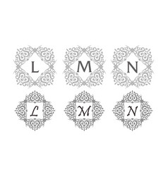 Ornament initial template set vector