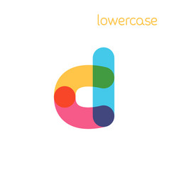 Overlapping one line lowercase letter d logotype vector
