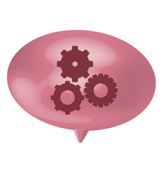 pink bubble gear icon vector image