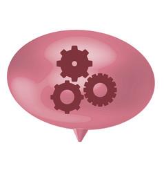 Pink bubble gear icon vector