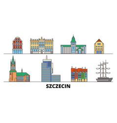 Poland szczecin flat landmarks vector