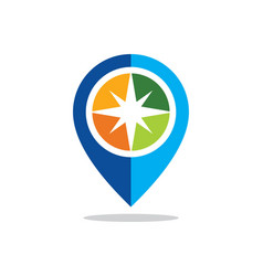 Position star gps location colored logo vector