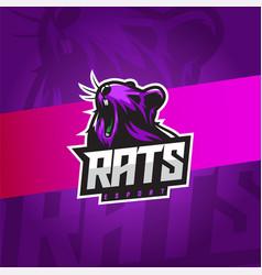 Rat esport emblem logo with violet colors vector
