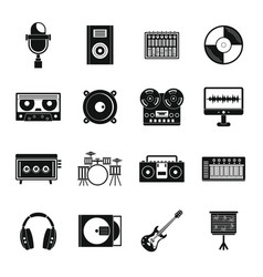 Recording studio items icons set simple style vector