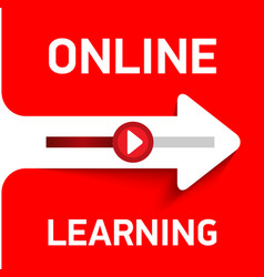 red banner or button for online learning vector image