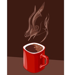 Red cup of coffee with aroma of ascending vector