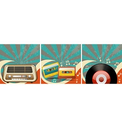 Retro background design with old radio and vector