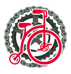 retro bicycle with chain and sprocket vector image