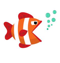 Ribbon cartoon fish flat icon vector
