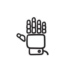 Robot hand sketch icon vector