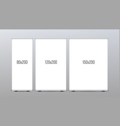 Roll up banner stand vertical board set vector