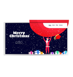 santa claus holding big sack merry christmas happy vector image