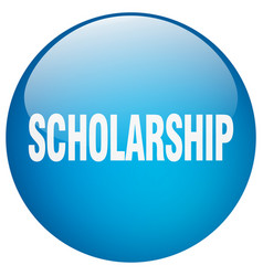 Scholarship blue round gel isolated push button vector