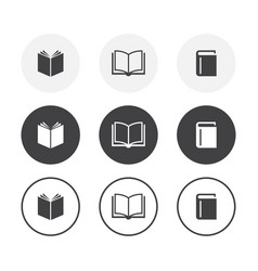 set 3 simple design books icons rounded vector image