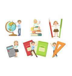 set images children with huge school vector image